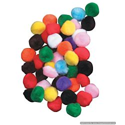 Acrylic Pom-Poms, 1 Inch, Bright Assorted Colors, 150/Bag