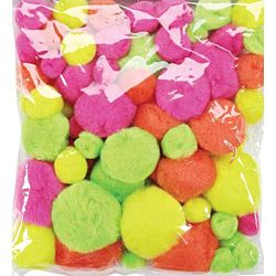 Assorted Sizes Acrylic Craft Neon Colors Pom Poms 300/pack