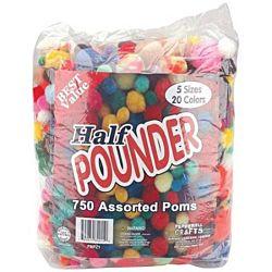 Pepperell Assorted Pom-Poms, 1/2 lb