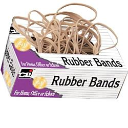 Charles Leonard Rubber Bands, Tissue-style Box, #33, Beige/Natural 1/4 pound– 3 1/2