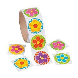 Spring Bright Flower Stickers Roll of 100