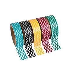 Colorful Chevron Washi Tape Set (5 rolls per set)
