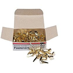Paper Fasteners, Round Head, Brass Plated 1/2 - Inches Shank, 8 mm Head, 100/Box