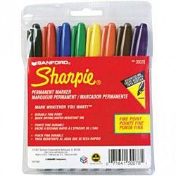 Sharpie Permanent Markers, Fine Point, Assorted, 8 color Set SAN-30078