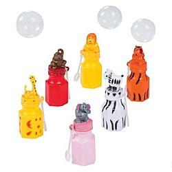Plastic Zoo Animal Character Bubble Bottles - 12/pk