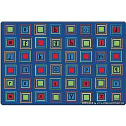 Kids Literacy Squares Primary Carpet  4' x 6'