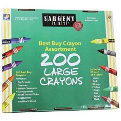 Sargent Art 200-Count Large Crayon, Best Buy Assortment 55-3225