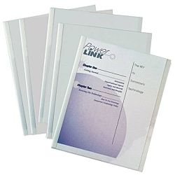 C-Line Report Covers with Binding Bars, Clear Plastic, White Bars, 8.5 x 11 Inches, 50 per Box , 32457