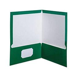 Laminated Twin-Pocket Portfolios, Green , 8 1/2