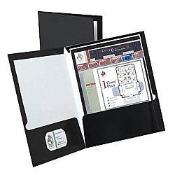 Laminated Twin-Pocket Portfolios, Black , 8 1/2