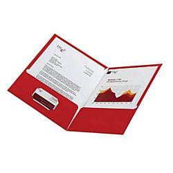 Laminated Twin-Pocket Portfolios, Red , 8 1/2
