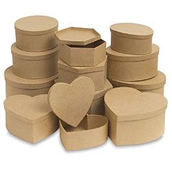 Decorate a paper maché box choose from — Oval, Heart, Round, and Hexagon