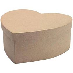 Paper Mache Box Heart 4 1/2