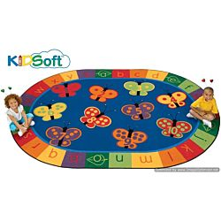 Kids Soft 123 ABC Butterfly Fun Rug, Carpet 8' x 12' Oval