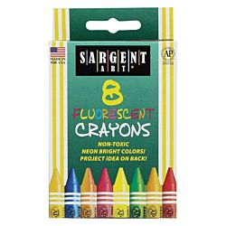 SARGENT ART CRAYONS FLUORESCENT 8 COLORS