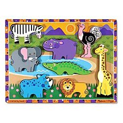 Melissa & Doug Safari Chunky Puzzle, 8 Pieces , item 3722