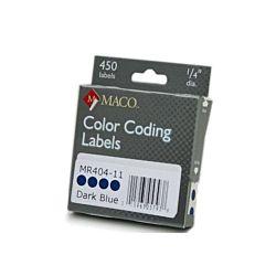 MACO Blue Round Color Coding Labels, 3/4 Inches in Diameter, 450 Per Box, MR404-11