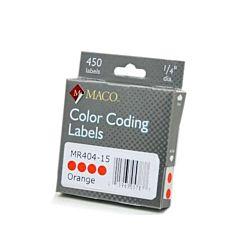 MACO Orange Round Color Coding Labels, 3/4 Inches in Diameter, 450 Per Box, MR404-15