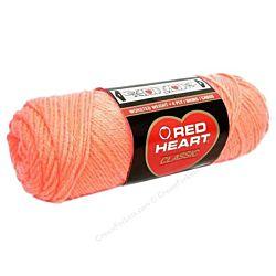 Red Heart classic, Crochet Premium Acrylic Knitting yarn, Coral