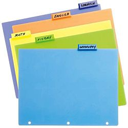Tab Index Divider Set, 5 Tab with Pockets Poly #48505