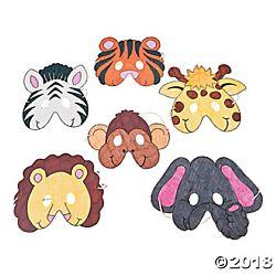 Cardboard Color Your Own Zoo Animal Masks - 12/pkg.