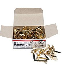 Paper Fasteners, Round Head, Brass Plated 1 Inches Shank, 10 mm Head, 100/Box