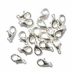 144-Piece Lobster Claw Clasps for Jewelry Making, 12mm, Silver