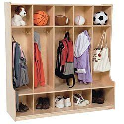 Wood Designs Children 5 Section Locker Natural, WD-51000