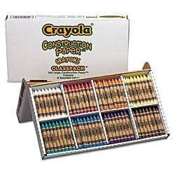 Crayola - Construction Paper Crayons, Classpack, Wax, 20 Sets of 8 Colors, 160/Box 52-8059