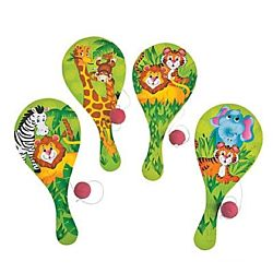 Wood Zoo Animal  Paddleball Games - 12/pk