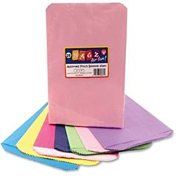 Hygloss Pinch Bottom Paper Bags, 6 by 9-Inch, Assorted Colors, 28-Pack