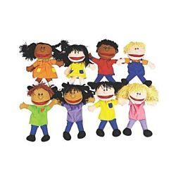Plush Happy Kids Hand Puppets, Set of 8
