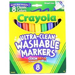 Crayola Washable Markers, Broad Point, Classic Colors, 8 Pack 58-7808