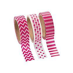 Pink Washi Tape Set (3 Rolls per Unit), 16'