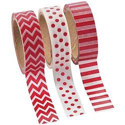 Red Washi Tape Set (3 Rolls per Unit), 16'