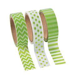Green Washi Tape Set (3 Rolls per Unit), 16'