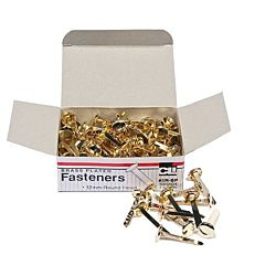 Paper Fasteners, Round Head, Brass Plated 1-1/4 Inches Shank, 12 mm Head, 100/Box