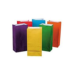 Hygloss Flat Bottom Paper Bags, 4.5 by 2.5-Inch by 8.5, Bright Colors, 28-Pack