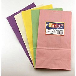 Hygloss Flat Bottom Paper Bags, 5 by 3-Inch by 9.3/4, Pastel Colors, 28-Pack