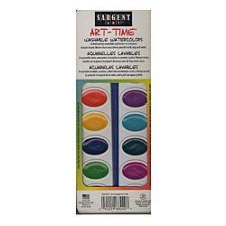 Sargent Art 66-8230 Art Time 8-Count Washable Watercolors Pan Set with Brush