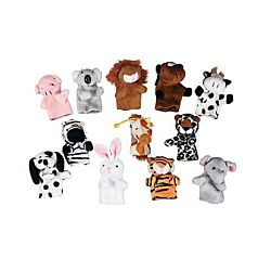 Plush Animal Finger Puppets, 1 Dozen Pack