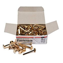 Paper Fasteners, Round Head, Brass Plated 1-1/2 Inches Shank, 12 mm Head, 100/Box
