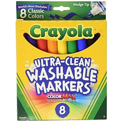 Binney & Smith Crayola Washable Wedge Tip Markers, Assorted Colors, Box Of 8 58-7208