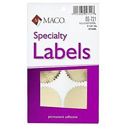 MACO Gold Foil Notarial Seals, 2-1/4 Inches in Diameter, 32 Per Box  OS-721