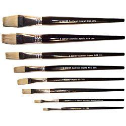Flat White Bristle, 1/4 Inch, Long Size Handles , 1 Dozen