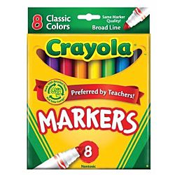 Crayola 58-7708 Non-Washable Markers, Broad Point, Classic Colors, 8/Set