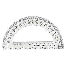 Plastic 180 Degree Protractor with 6 inch Ruler, Clear