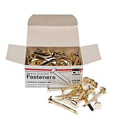 Paper Fasteners, Round Head, Brass Plated 2 - Inches Shank, 12 mm Head, 100/Box