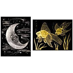 Scratch Art Paper, Gold and Silver Foil, 10-Sheets