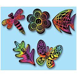 Melissa & Doug Scratch Art Nature Scratchin' Shapes Group Pack 1402